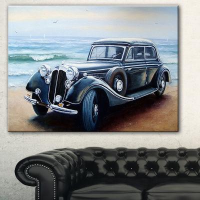 Designart Retro Car On Sea Shore Car Canvas Art Print - 3 Panels