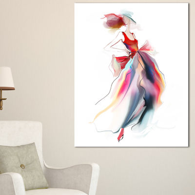 Designart Retro Fashion Dress Digital Art PortraitCanvas Print - 3 Panels