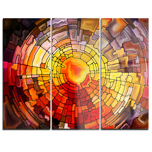 Designart Return Of Stained Glass Contemporary Canvas Art Print - 3 Panels