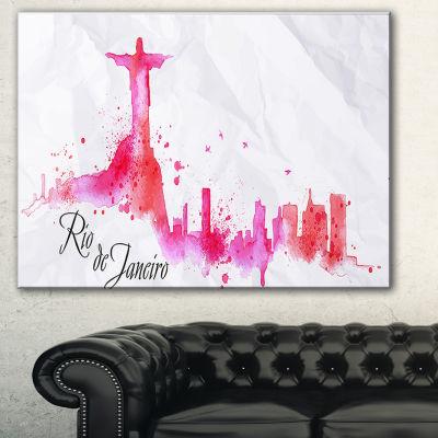 Designart Rio De Janeiro Red Silhouette CityscapePainting Canvas Print - 3 Panels