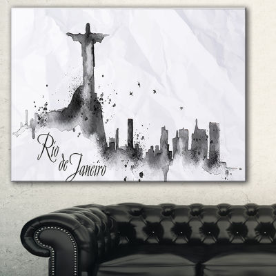 Designart Rio De Janeiro Silhouette Cityscape Painting Canvas Print