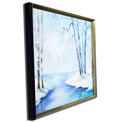 Designart River In Snowy Winter Abstract LandscapeArt
