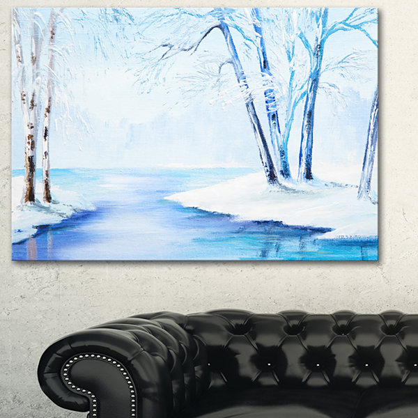 Designart River In Snowy Winter Abstract LandscapeArt - 3 Panels