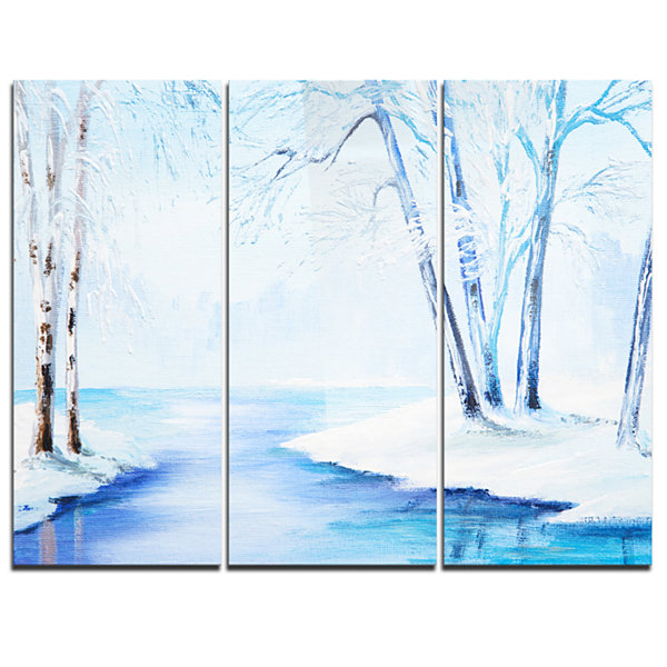 Design Art River In Snowy Winter Abstract LandscapeArt - 3 Panels