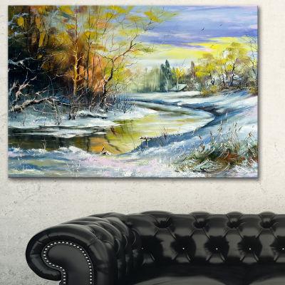 Designart River In The Spring Woods Landscape ArtPrint Canvas - 3 Panels