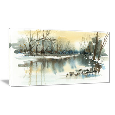 Designart River In Winter Landscape Painting Canvas Art Print