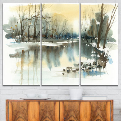 Designart River In Winter Landscape Painting Canvas Art Print - 3 Panels