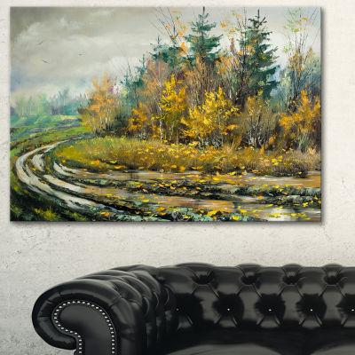 Designart River On A Decline Landscape Art PrintCanvas - 3 Panels