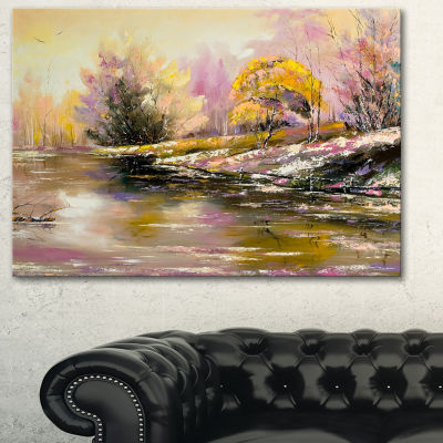 Designart River S Farwell To Autumn Landscape ArtPrint Canvas - 3 Panels