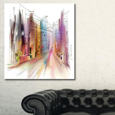 Designart Road In City Illustration Art CityscapeCanvas Art Print - 3 Panels