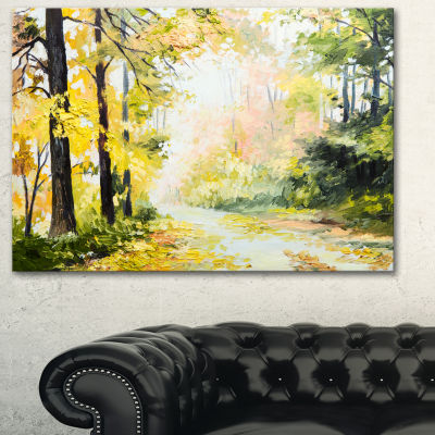 Designart Road In Colorful Forest Landscape Art Print Canvas - 3 Panels