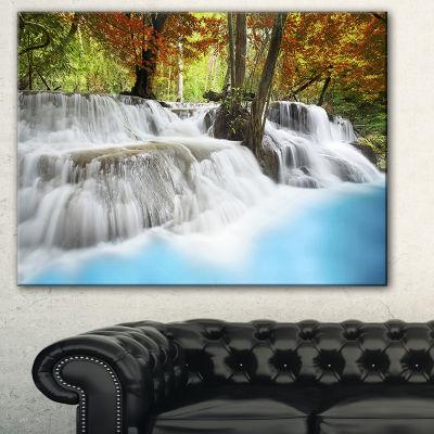 Designart Roaring Erawan Waterfall Landscape ArtPrint Canvas - 3 Panels