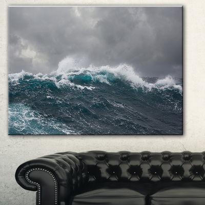 Designart Roaring Waves Under Cloudy Sky SeascapeCanvas Art Print - 3 Panels