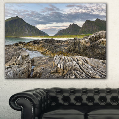 Designart Rocky Coastline On Lofoten Landscape Photography Canvas Print - 3 Panels
