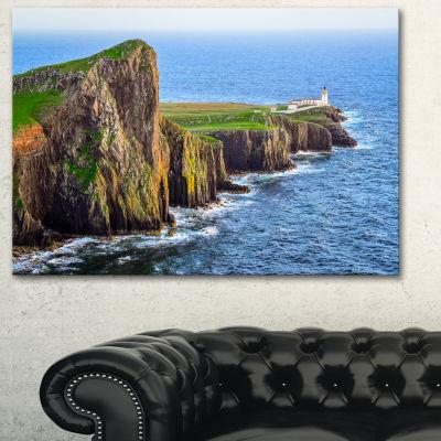 Designart Rocky Ocean Coastline Scotland Photography Canvas Art Print