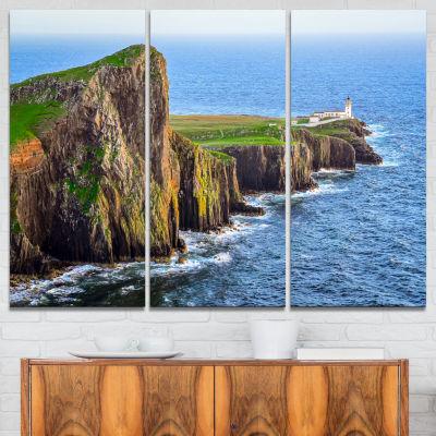 Design Art Rocky Ocean Coastline Scotland Photography Canvas Art Print - 3 Panels