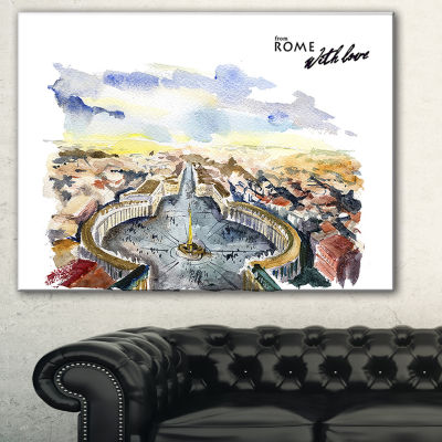 Designart Rome Hand Drawn Illustration CityscapePainting Canvas Print - 3 Panels