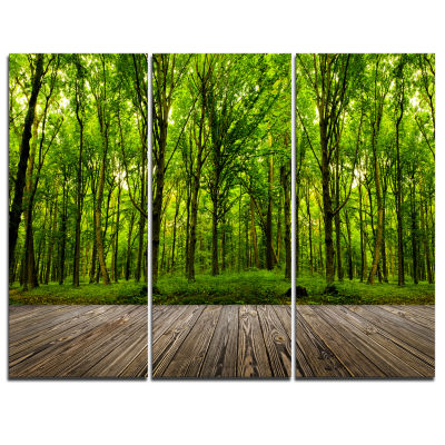 Designart Room Interior In Forest Landscape CanvasArt Print - 3 Panels