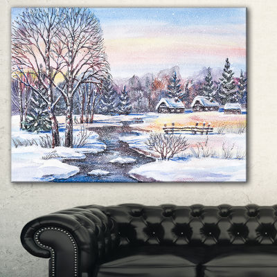 Designart Russian Winter Village Landscape Photography Canvas Print - 3 Panels