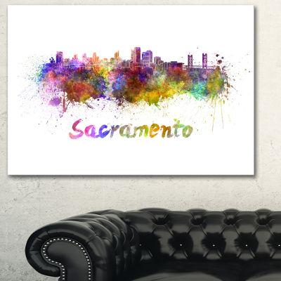 Designart Sacramento Skyline Cityscape Canvas Artwork Print - 3 Panels