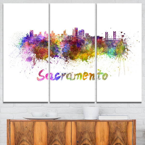 Designart Sacramento Skyline Cityscape Canvas Artwork Print - 3 Panels
