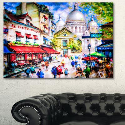 Designart Sacre Coeur And Montmartre Cityscape Canvas Print - 3 Panels