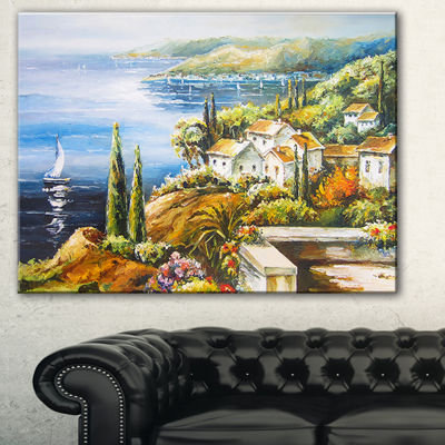 Designart Sailing Boat Remote View Seascape CanvasArt Print
