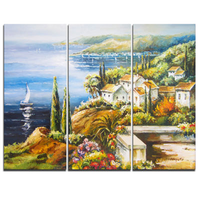 Designart Sailing Boat Remote View Seascape CanvasArt Print - 3 Panels