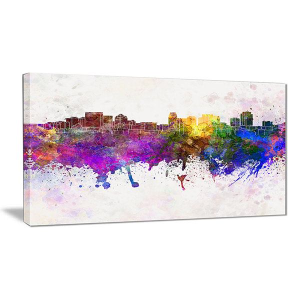 Designart Salt Lake City Skyline Cityscape CanvasArtwork Print