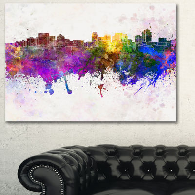 Designart Salt Lake City Skyline Cityscape CanvasArtwork Print - 3 Panels