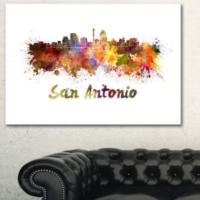 Designart San Antonio Skyline Cityscape Canvas Artwork Print