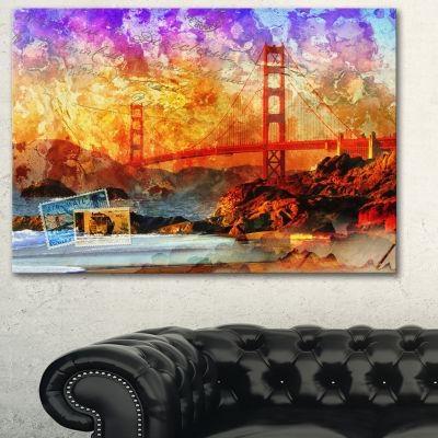 Design Art San Francisco Bridge Contemporary CanvasArt Print - 3 Panels