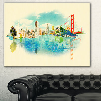Designart San Francisco Panoramic View CityscapeWatercolor Canvas Print - 3 Panels