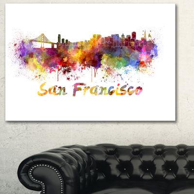 Designart San Francisco Skyline Cityscape Canvas Artwork Print