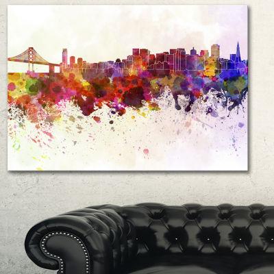 Designart San Francisco Skyline Large Cityscape Canvas Artwork Print - 3 Panels