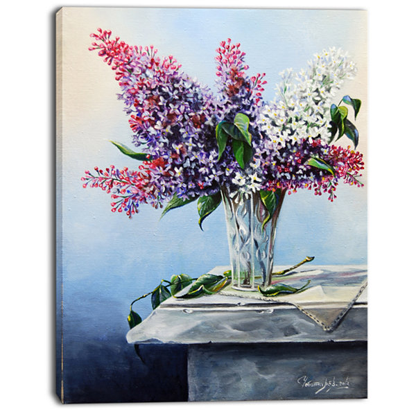 Designart Lilac Bouquet Floral Art Canvas Print