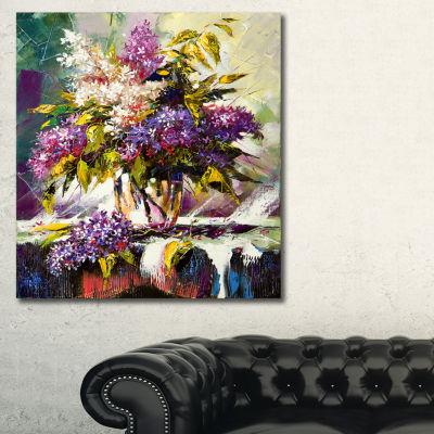 Designart Lilac Bouquet In A Vase Floral Art Canvas Print