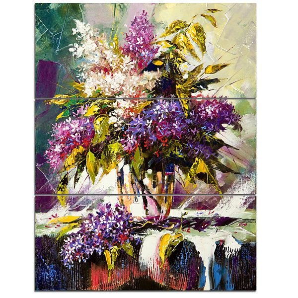 Designart Lilac Bouquet In A Vase Floral Art Canvas Print - 3 Panels