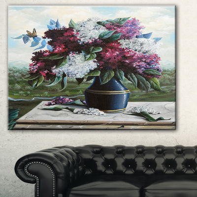 Designart Lilac In Blue Jug Floral Art Canvas Print