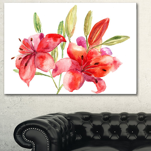 Designart Lily Flowers Illustration Floral Art Canvas Print