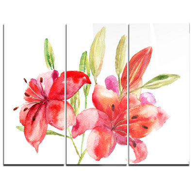 Designart Lily Flowers Illustration Floral Art Canvas Print - 3 Panels