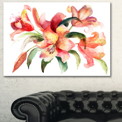Designart Lily Flowers Watercolor Illustration Floral Art Canvas Print - 3 Panels
