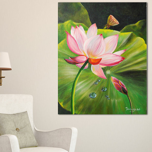 Designart Lotus And Water Drops Floral Painting Canvas
