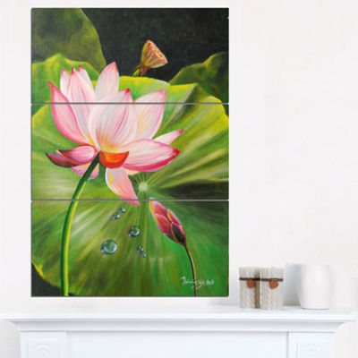 Designart Lotus And Water Drops Floral Painting Canvas - 3 Panels