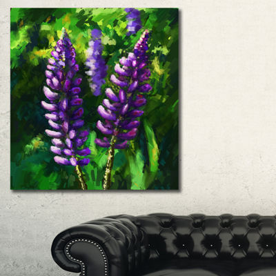 Designart Lupin Flowers Floral Art Canvas Print -3Panels