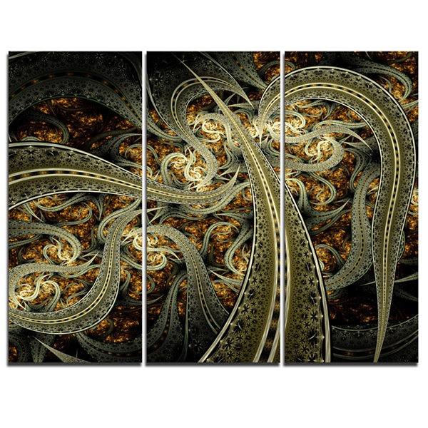 Designart Metallic Fabric Pattern Abstract Print On Canvas - 3 Panels