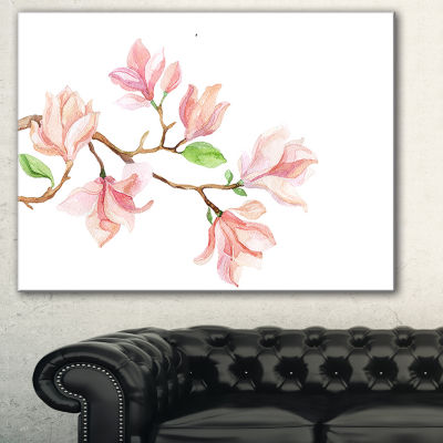 Designart Mongolia Flower Painting Watercolor Floral Canvas Art Print - 3 Panels
