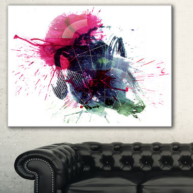 Designart Multicolor Abstract Stain Abstract Canvas Art Print