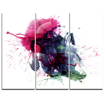 Designart Multicolor Abstract Stain Abstract Canvas Art Print - 3 Panels
