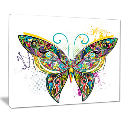 Designart Openwork Butterfly Abstract Print On Canvas